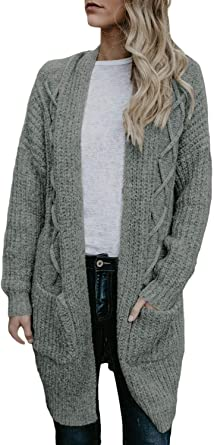 LADIES LONG LENGTH SOFT CABLE KNIT BOYFRIEND CARDIGAN POCKETS BLACK BLUE 10  20