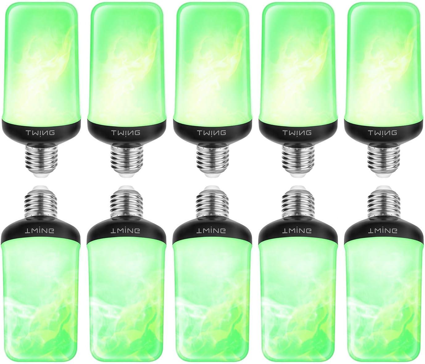 LED Flame Effect Fire Light Bulbs (Green) 99 LED 6W Flickering Light Bulb with Gravity Sensor,4 Modes E26/E27 Base Flame Light Bulb for Halloween Christmas Indoor Outdoor Home Decor (10 Pack)