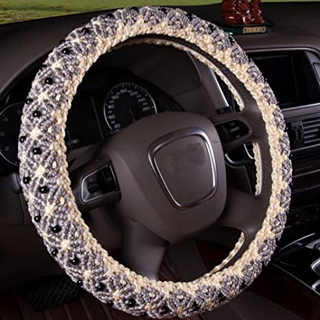 amazon com auto car steering wheel wrap cover,homdsim,hand beadedauto car steering wheel wrap cover,homdsim,hand beaded ice silk universal winter anti