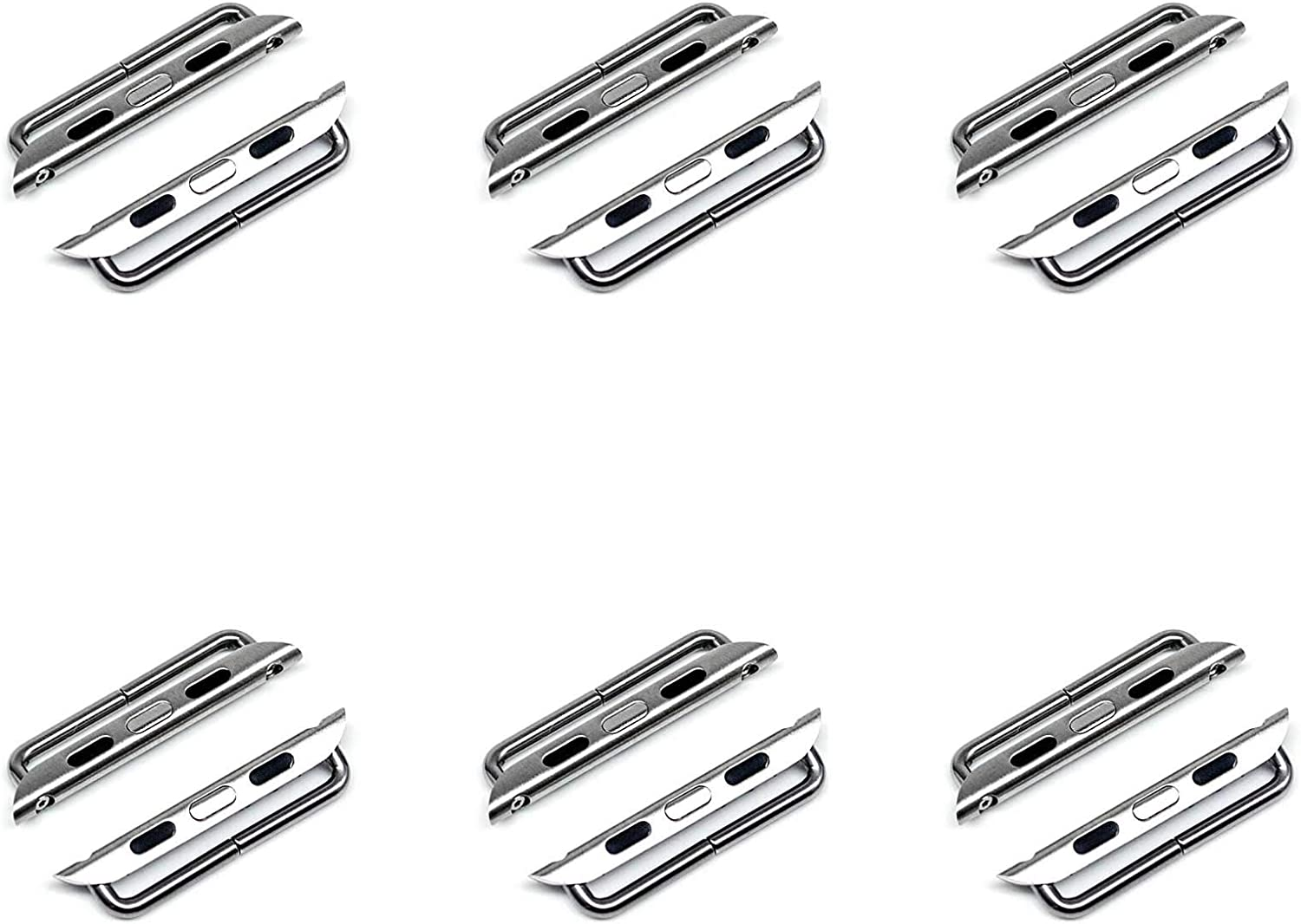 6 Pack Newon Stainless Steel Adapter Compatible with Apple Watch Band, for iWatch 38mm 40mm Sport Series SE/6/5/4/3/2/1 Metal Clasp Hardware Connector Lug - Silver 38/40
