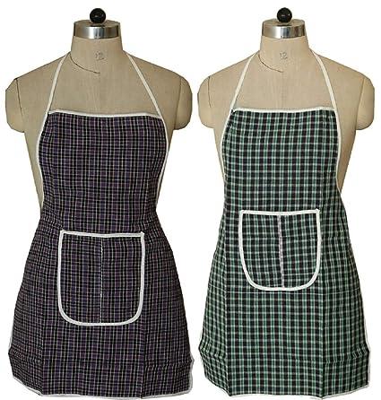 Kuber Industries Cotton 2 Piece Kitchen Apron with Front Pocket Set - Multicolour