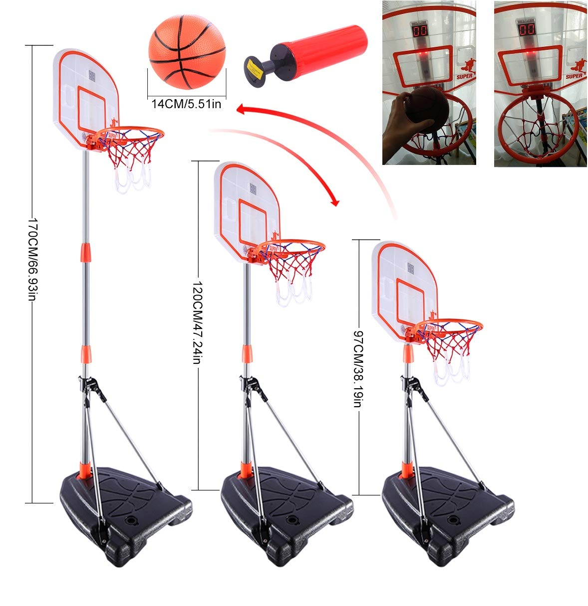 Mecotech Canasta Baloncesto Infantil, 97-170CM Ajustable Canasta ...