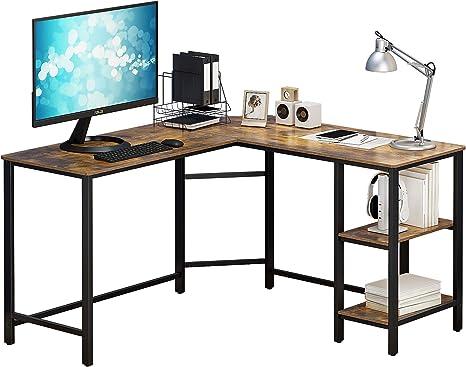 Rustic Brown HOME BI L-Shaped Desk Computer Desk Study Desk Gaming Desk Home Office Desk Spacious Workstation Corner Writing Desk