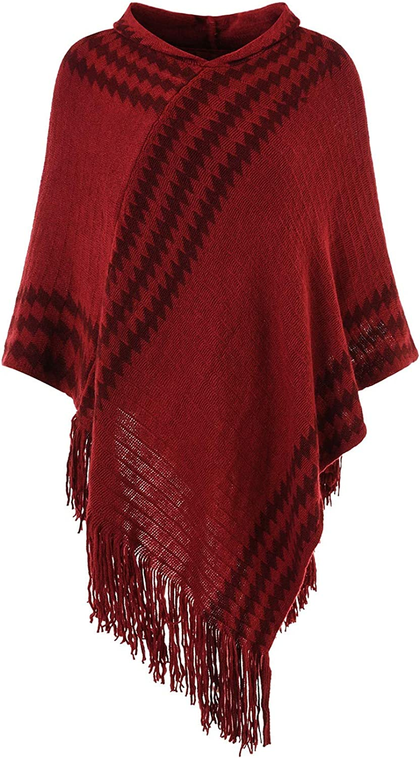 Ferand Women's Hooded Zigzag Striped Knit Cape Poncho Sweater with Fringes