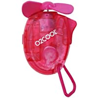 O2COOL Small Carabiner Keychain Misting Fan, Raspberry, 1