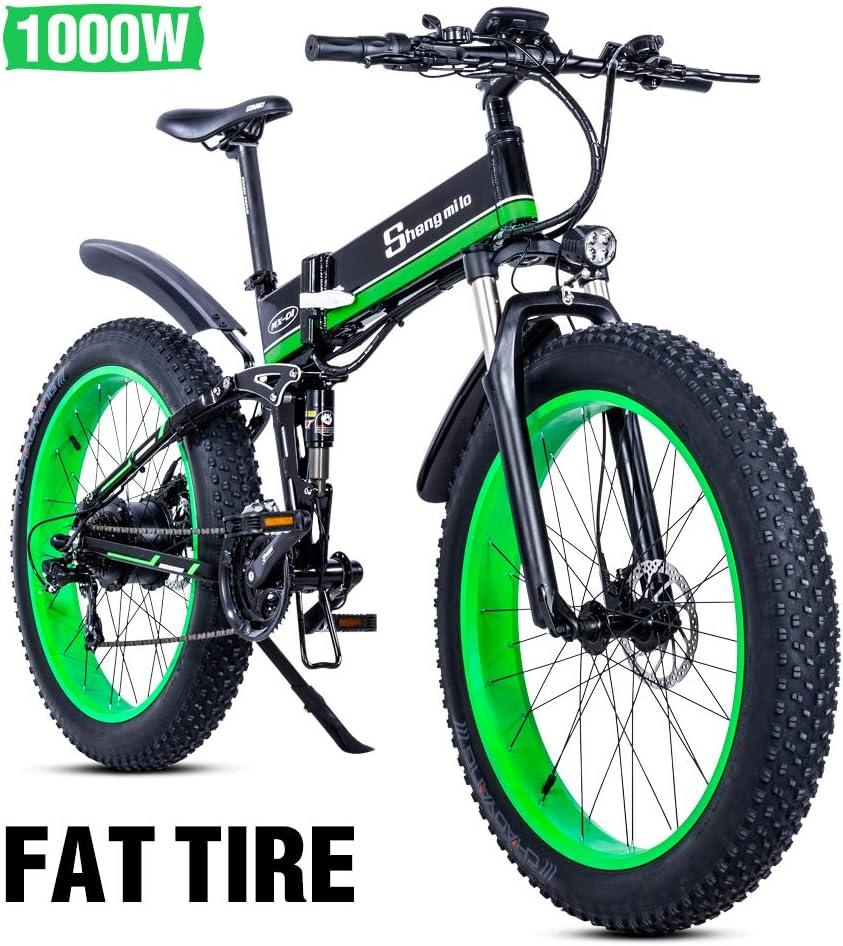26 pulgadas neumático gordo Bicicleta eléctrica 1000W 48V Nieve E-bici Shimano 21 Velocidades Beach Cruiser Hombre Mujeres Montaña e-Bike Pedal Assist, batería de litio Frenos de disco hidráulicos