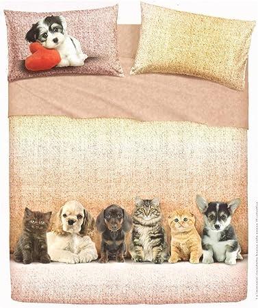 Lenzuola Matrimoniali Cani.Bassetti Lenzuolo Dogs Cat Cani Gatti Matrimoniale Lenzuola
