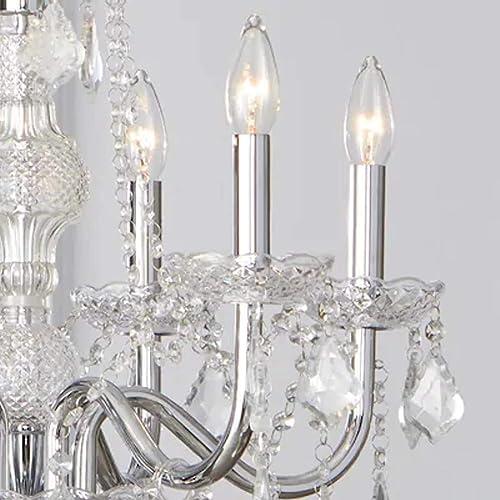 Portfolio B10081 6-Light Polished Chrome Vintage Crystal Candle Chandelier