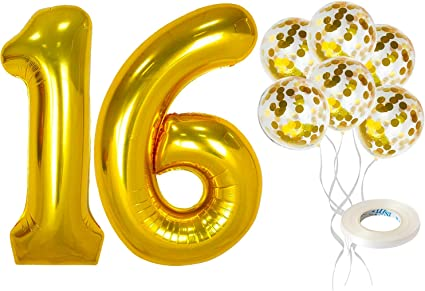 """16/"""" Gold Number 1 One Air Filled Foil Balloon 1st Birthday Party Decoration"""