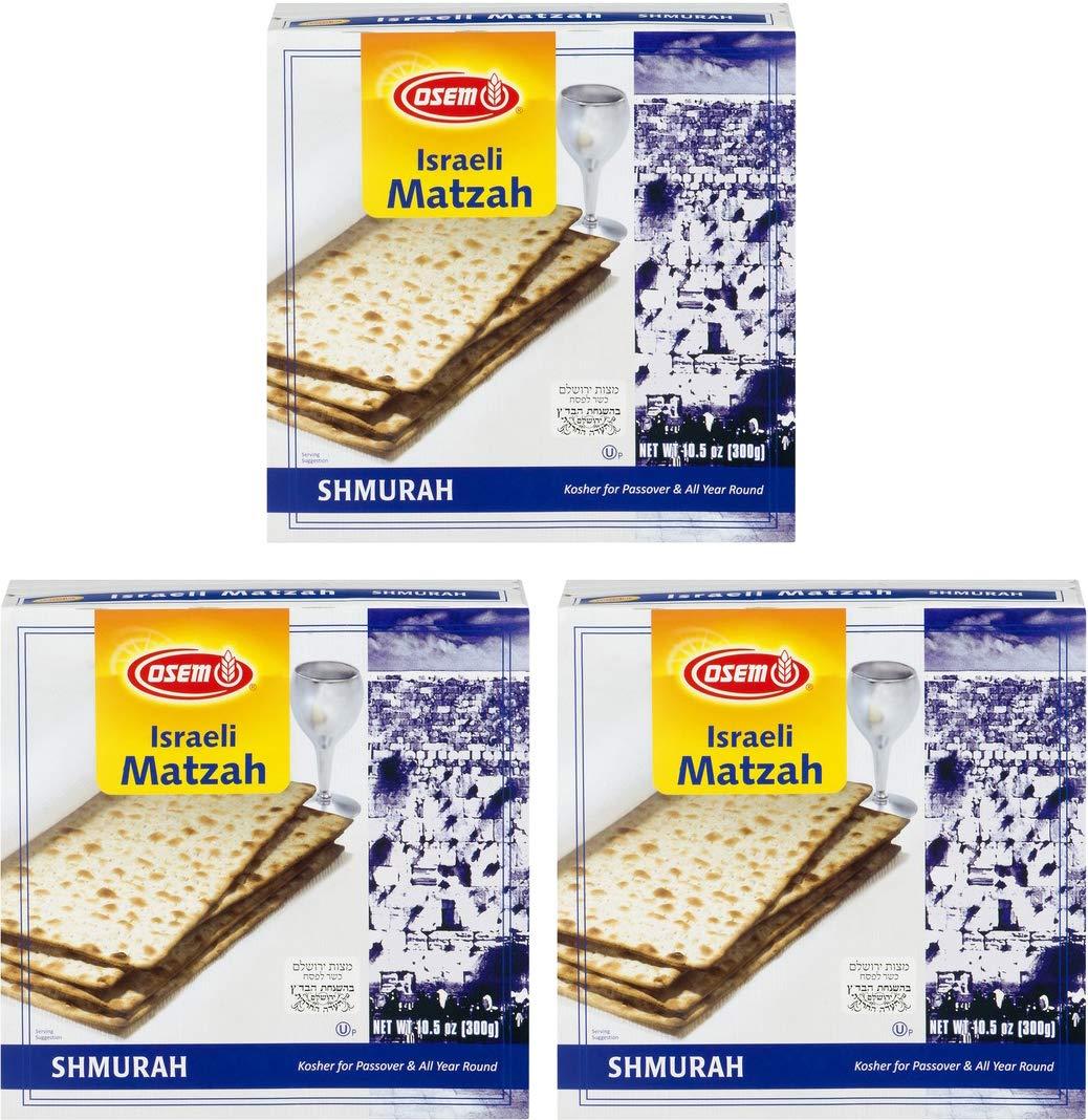 Osem Shmurah Matzah, Kosher For Passover Israel Matzos, 10.5 oz (Pack of 3)