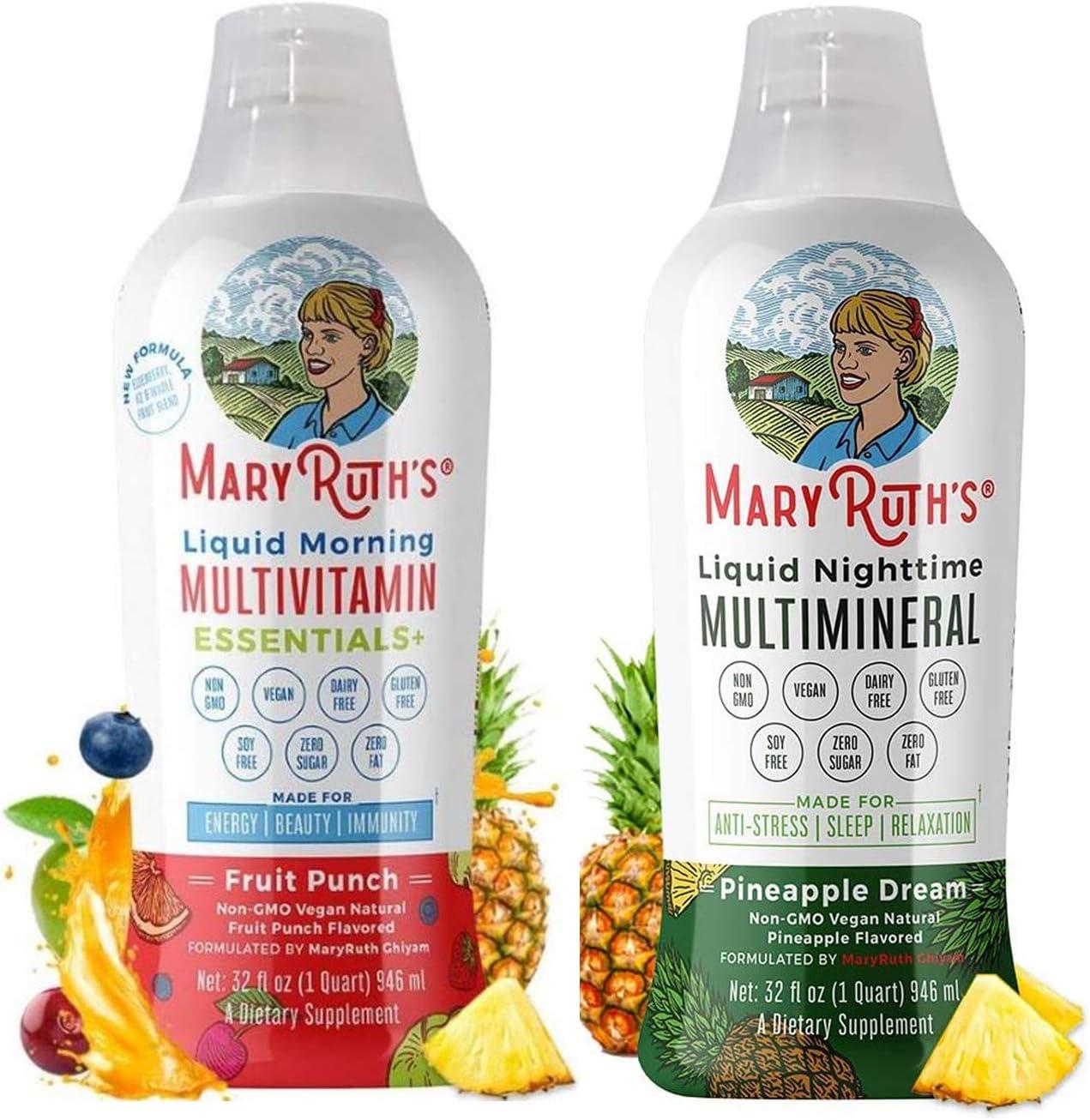 Morning Liquid Multivitamin & Liquid Sleep Multimineral Bundle by MaryRuth's | Morning Liquid Multivitamin (Fruit Punch), 32oz | Liquid Sleep Multimineral (Pineapple), 32oz | Vegan, Non-GMO