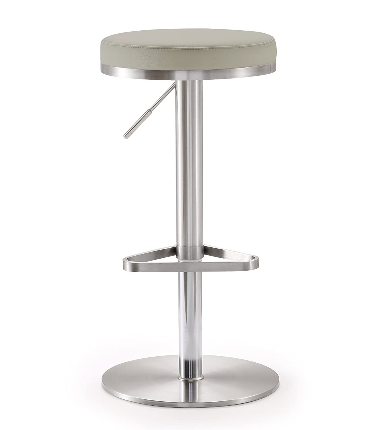 Tov Furniture Fano Light Grey Steel Adjustable Barstool