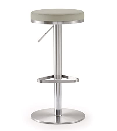 Tov Furniture Fano Light Grey Steel Adjustable Barstool,