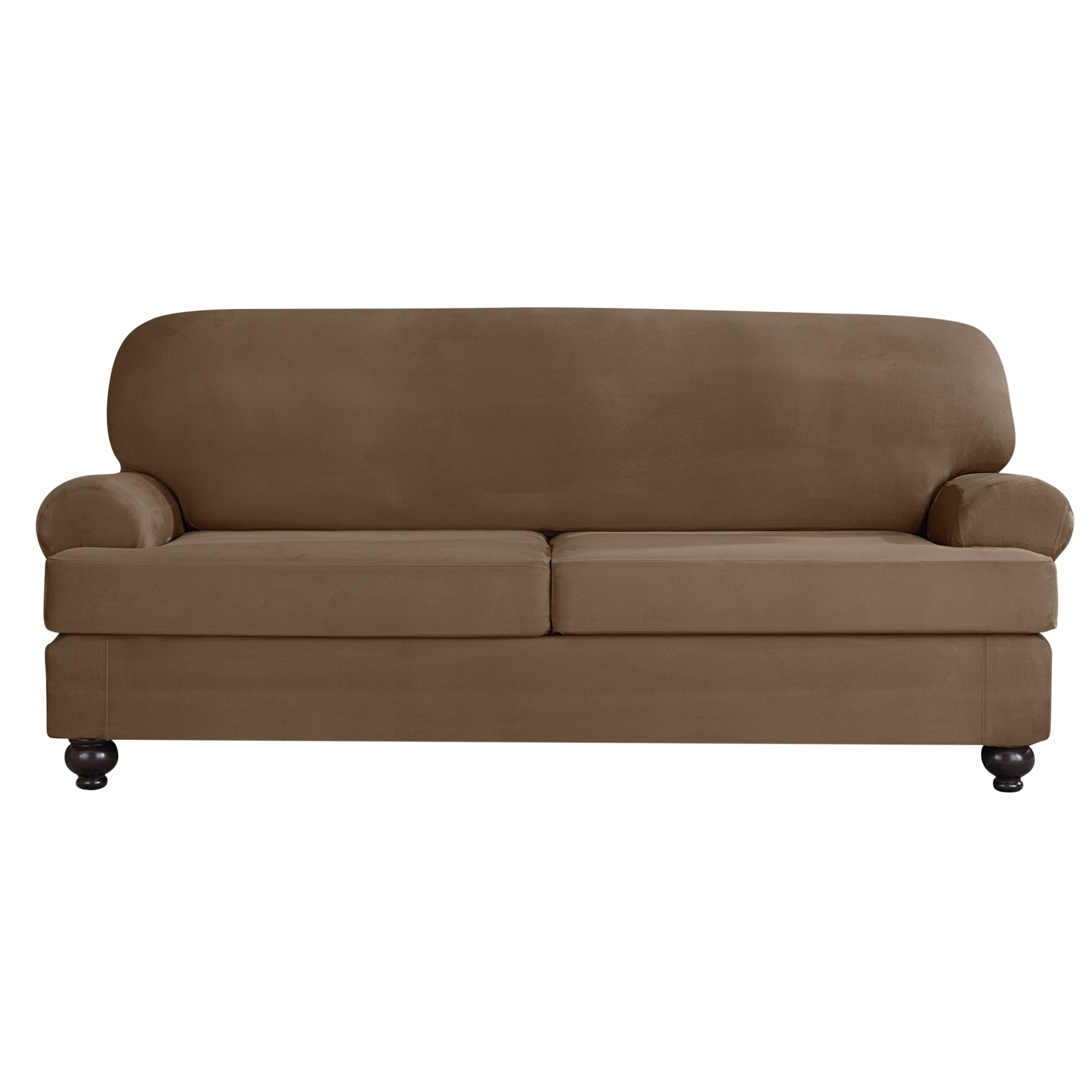 Sure Fit Designer Suede Convertible T-Cushion Sofa Furniture Cover - Taupe (SF44383)