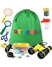 UTTORA Kit de Exploración para Niños 17 en 1, Juego de Explorador para Niños para Niños Prismáticos/Binoculares, Silbato, Brújula, Lupa, 6 Arañas Plasticas, Regalo para Navidad, los Reyes
