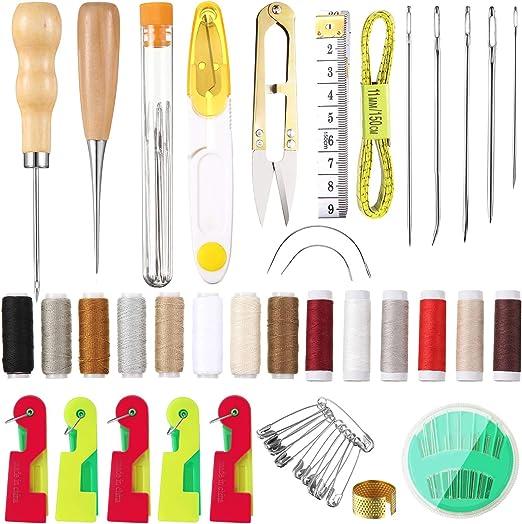 Kit de Reparación de Tapicería de 45 Piezas, Incluye Kit de Artesanía de Cuero Agujas de
