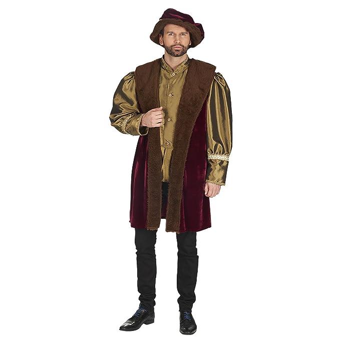Mercante medievale - costume da uomo per travestimento in stile  rinascimentale - veste e copricapo - rosso verde - 58 60  Amazon.it   Abbigliamento db1d80f80a91