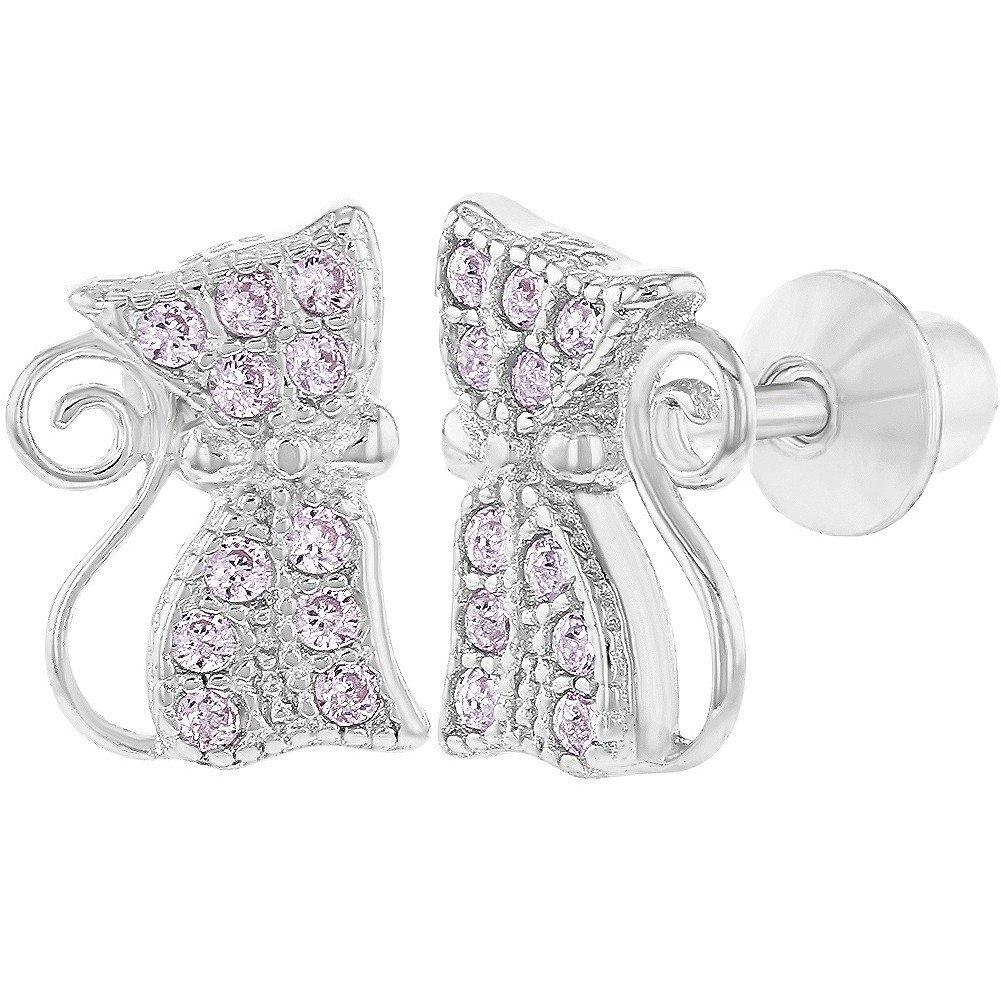 925 Sterling Silver Pink CZ Safety Screw Back Cat Earrings for Girls Teens In Season Jewelry SS-03-00153