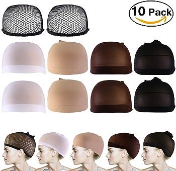 10-Pack Pixnor Nylon Net Mesh Wig Caps