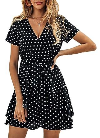 2dc54d29df5 BTFBM Women V Neck Short Sleeve Polka Dot Floral Pattern A-Line Tie Belt  Short