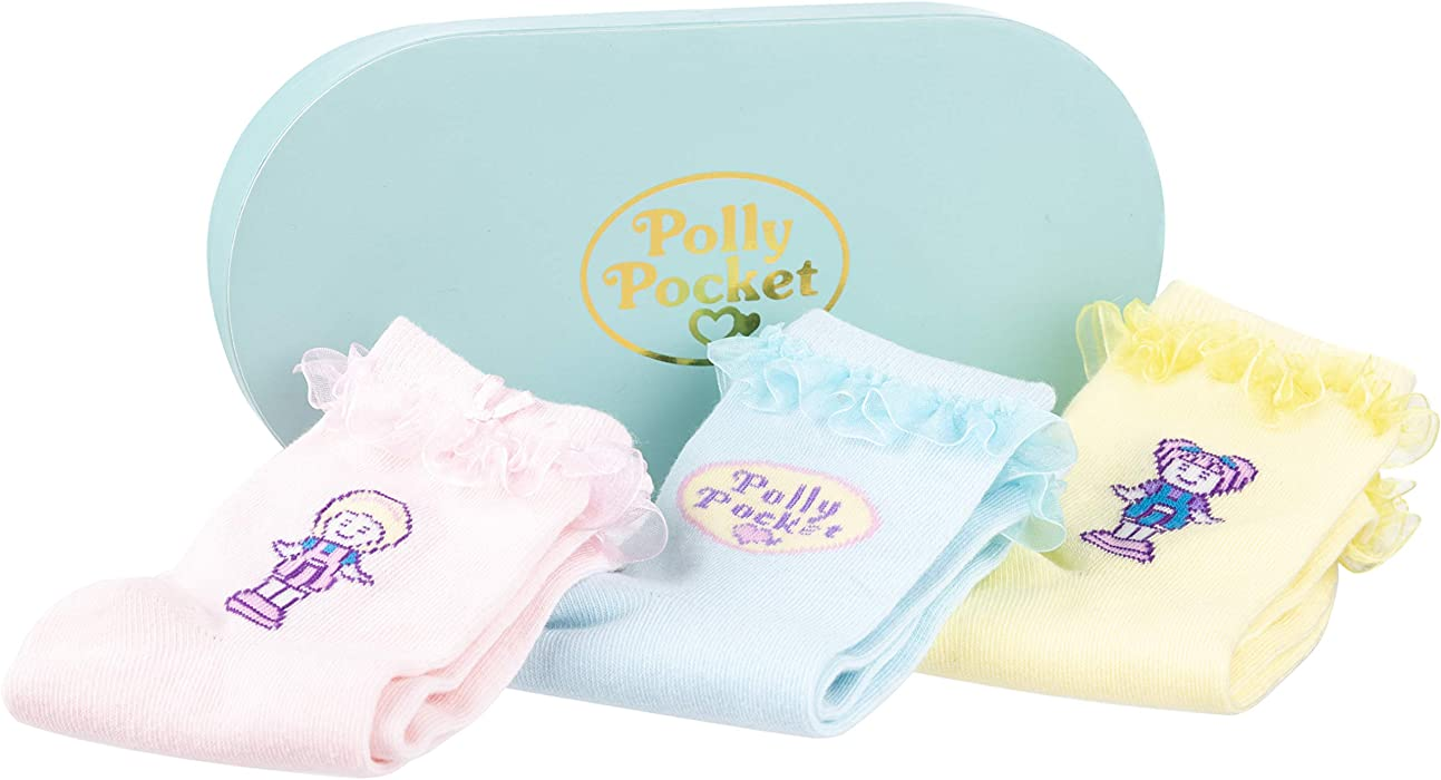 100/% Official Merchandise Polly Pocket Set of 3 Pairs of Socks in Gift Box