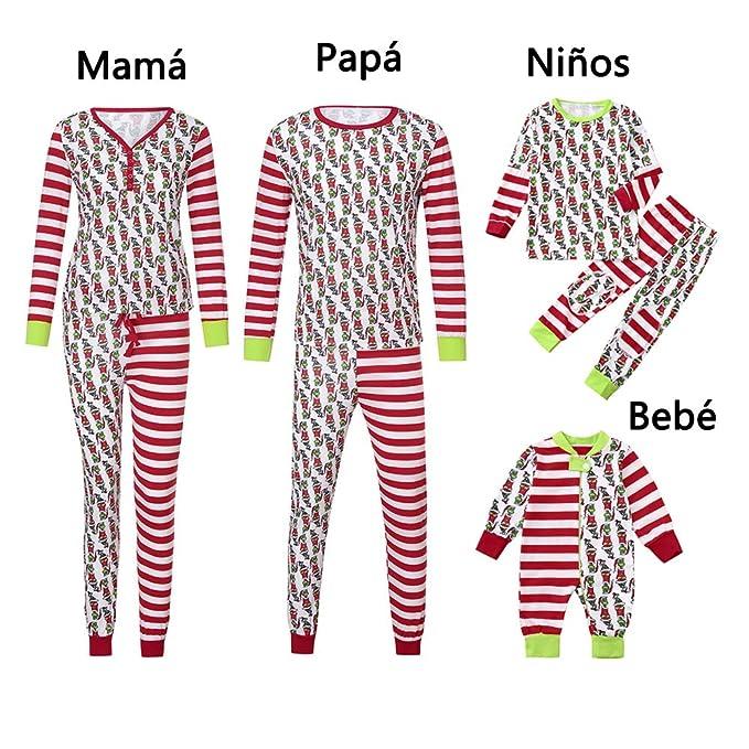 K-youth Conjunto de Pijamas Ropa Familiar Navidad Fiesta Camisetas Hombre  Mujer Blusa Tops y db3d8155634