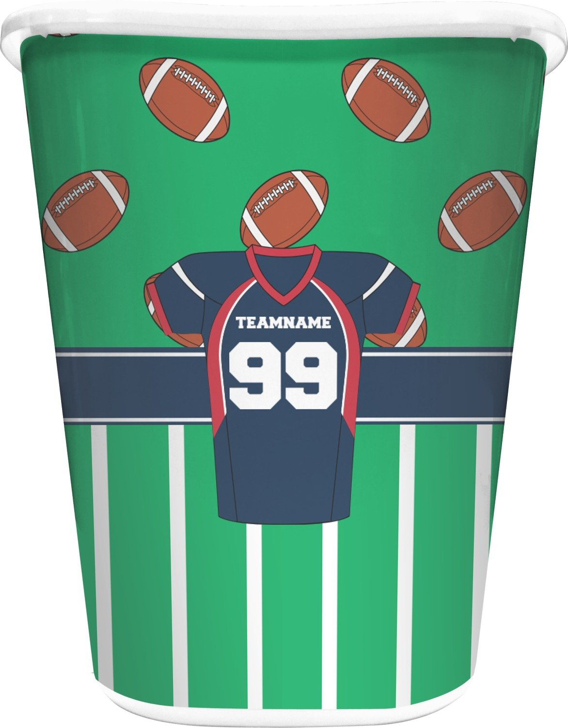 RNK Shops Football Jersey Waste Basket - Single Sided (White) (Personalized)