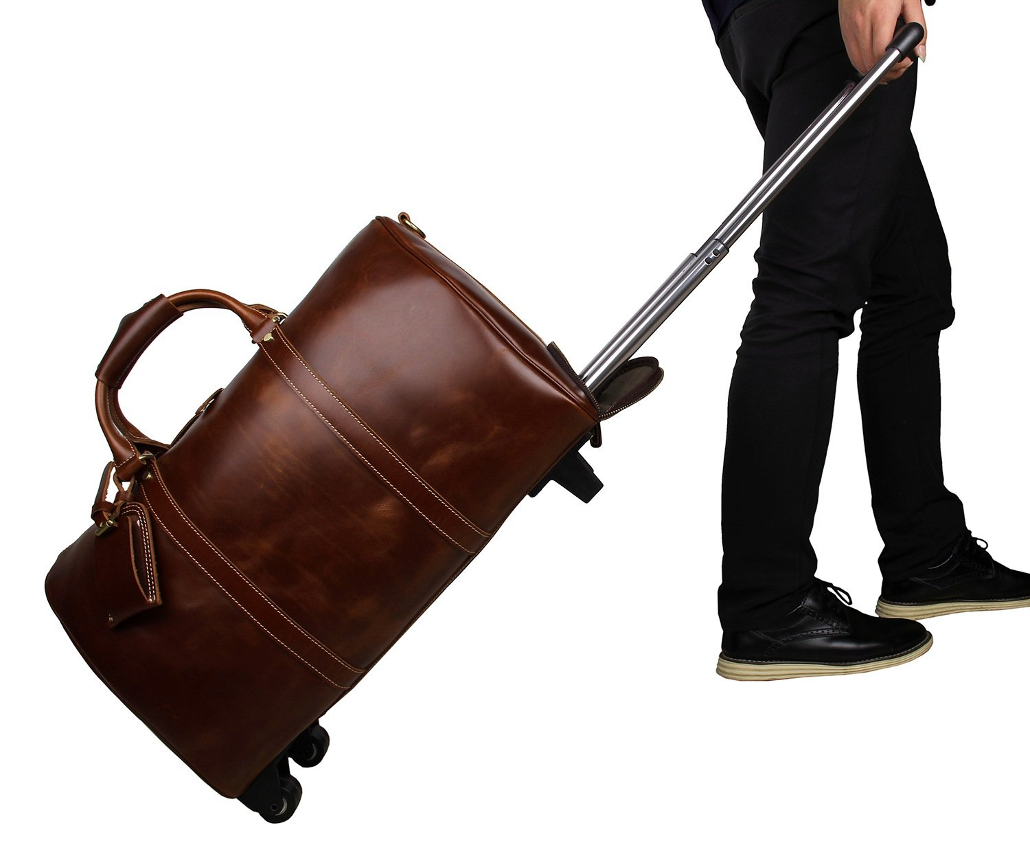 Mens Leather Travel Duffel Bag Brown Weekend Wheeled Carry ON Luggage Bags