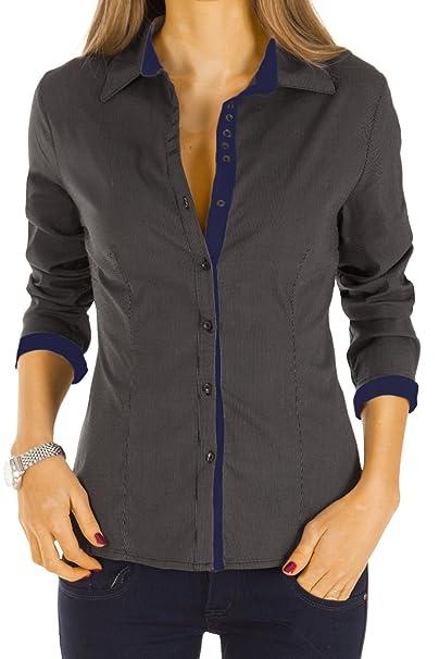 c01faa08ac12 Bestyledberlin Camicia - Stile Impero - A Righe - Classico - Maniche Lunghe  - Donna Nero Blu 46  Amazon.it  Abbigliamento