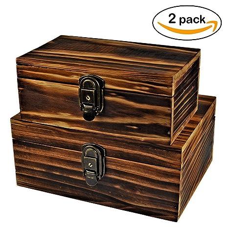 Amazoncom 2 Sets Jewelry BoxWooden Storage BoxIcefire Handcraft