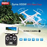Nouveau Syma X5SW-1 Explorers RTF Drone 4CH 2.4GHz 6 Axis WiFi FPV Real-Time Transmission RC Quadcopter avec Caméra Mode 2 RTF -Support Smartphone iPhone Android Wi-Fi contrôle (Blanc)