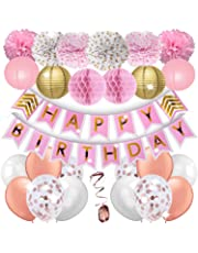 KTDUO – Birthday Party Decoration Kit | Pink & Gold Theme Décor Set | Perfect for Baby or Girl Birthday Party, Mom or Grandma Birthday Supplies, Cake Smash, Photo-Shoot & More.