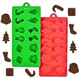 24 formes de moules en silicone au chocolat pour les décorations de Noël, faire des bonhommes de neige, des rubans, un père noël, des arbres et des supports, ou faire de la glace, des bonbons, des gelées et plus encore.