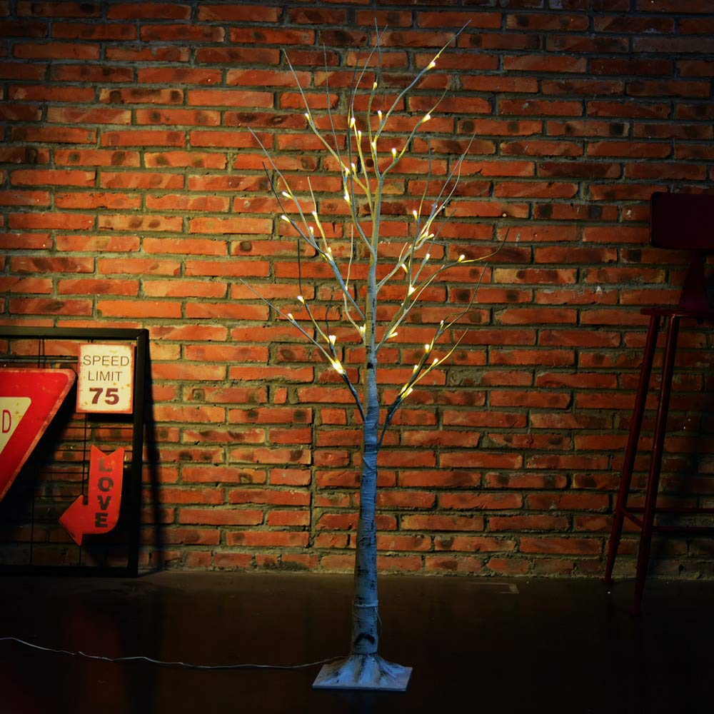 Glumes 24 LED Birch Tree |Bright Warm White Tree Lamp|Fairy Light| Indoor Outdoor Decoration for Christmas Party Wedding Holiday Birthday Garden Patio Bedroom|American Warehouse Shipment (1.2M)