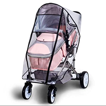 Gray Universal Pushchair Cover,Travel Outdoor Rain Cover ,Children Umbrella Car Windshield Rain Cover for Buggy Pram Double Zipper EVA Transparent and Windproof Waterproof Dust Snow