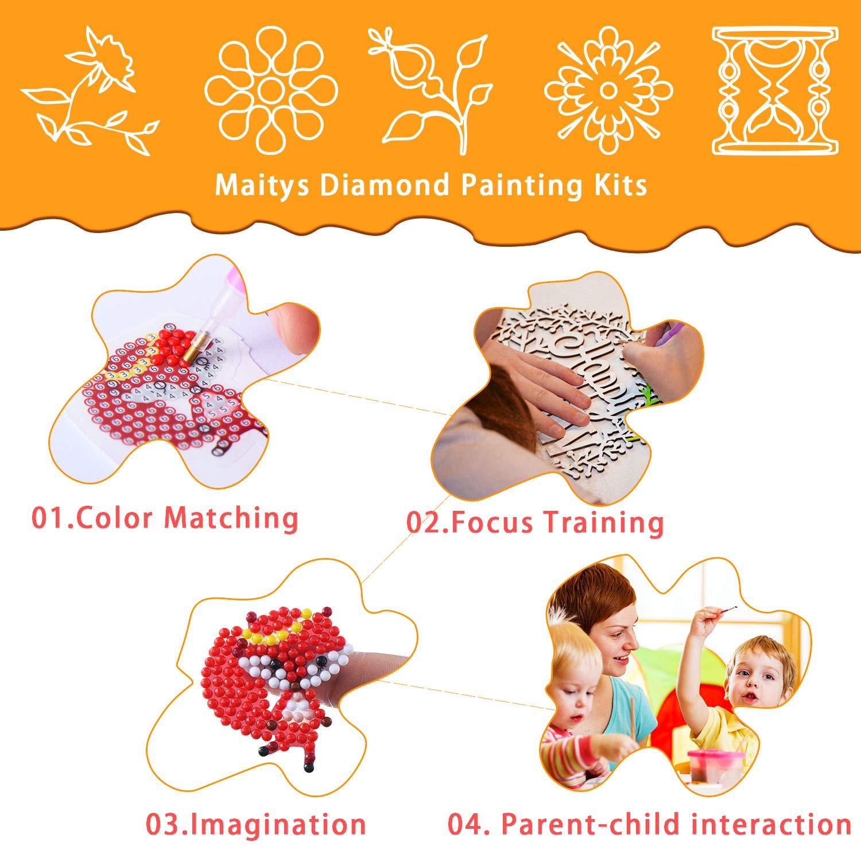 16 Pezzi 5D Kit di Pittura Diamante Pittura a Bastoncino con Diamante da Numeri Fai da Te Adesivi Animali con Diamanti per Bambini e Adulti Fabbricazione Artigianale di Principianti