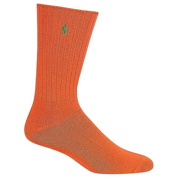 Polo Ralph Lauren hombres calcetines de algodón acanalado de la una Naranja naranja: Amazon.es: Ropa y accesorios