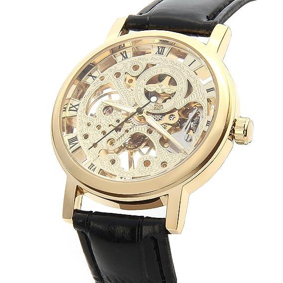 8f4c0a0a1476 O.R.® (Old Rubin)Caja de reloj de oro pulido brillante hueco mecánico  automático de los deportes del reloj de pulsera con correa de cuero Negro  genuino  ...
