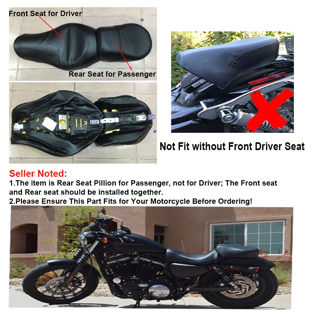 NEVERLAND Rear Passenger Seat Pillion For Harley Davidsion Sportster XL883 XL1200 2004-2015 Black