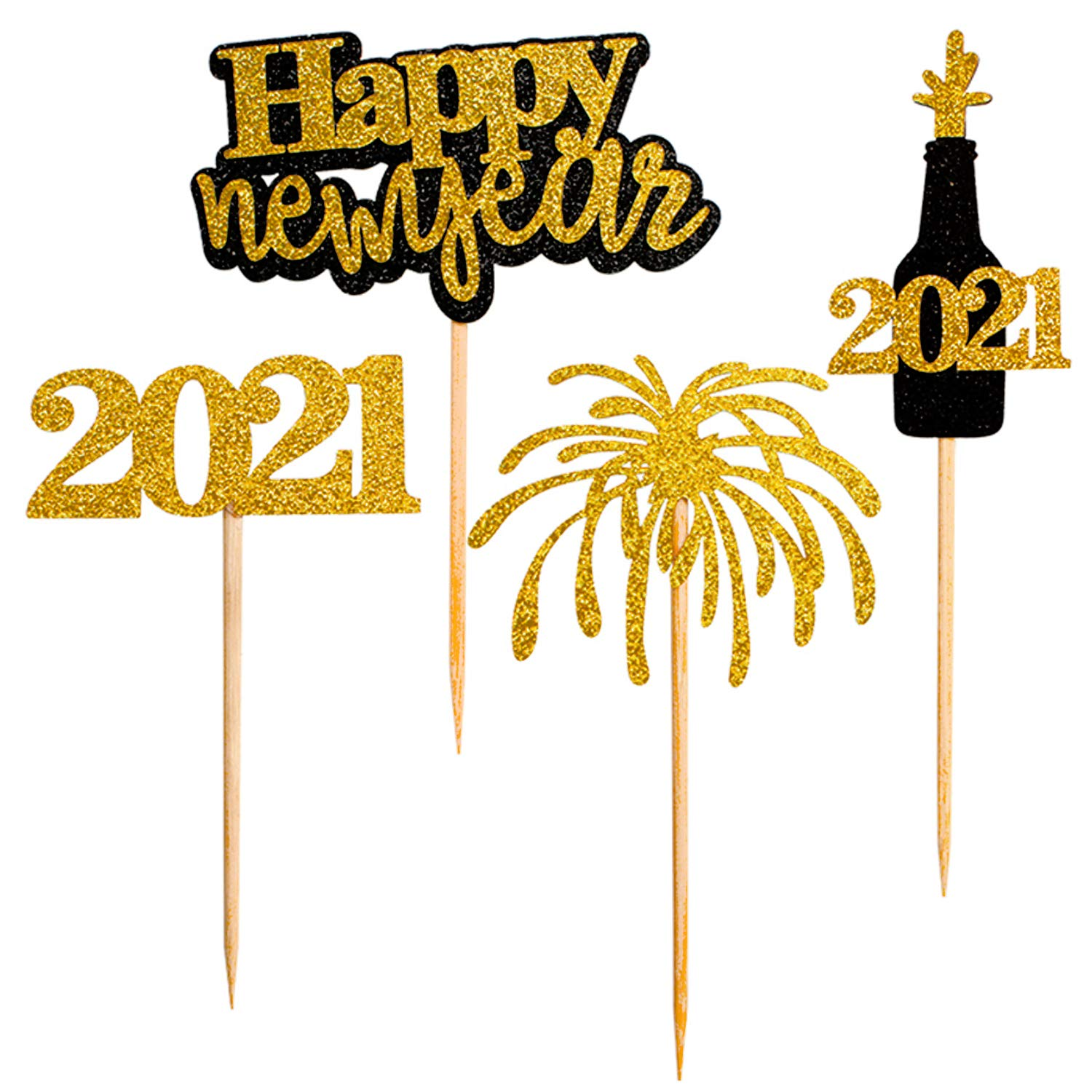 24 PCS Happy New Year Cupcake Toppers ,New Year's Eve Decoration 2021,Picks Muffin Cake Toppers for Party Table Cake Decorations New Year Party Supplies