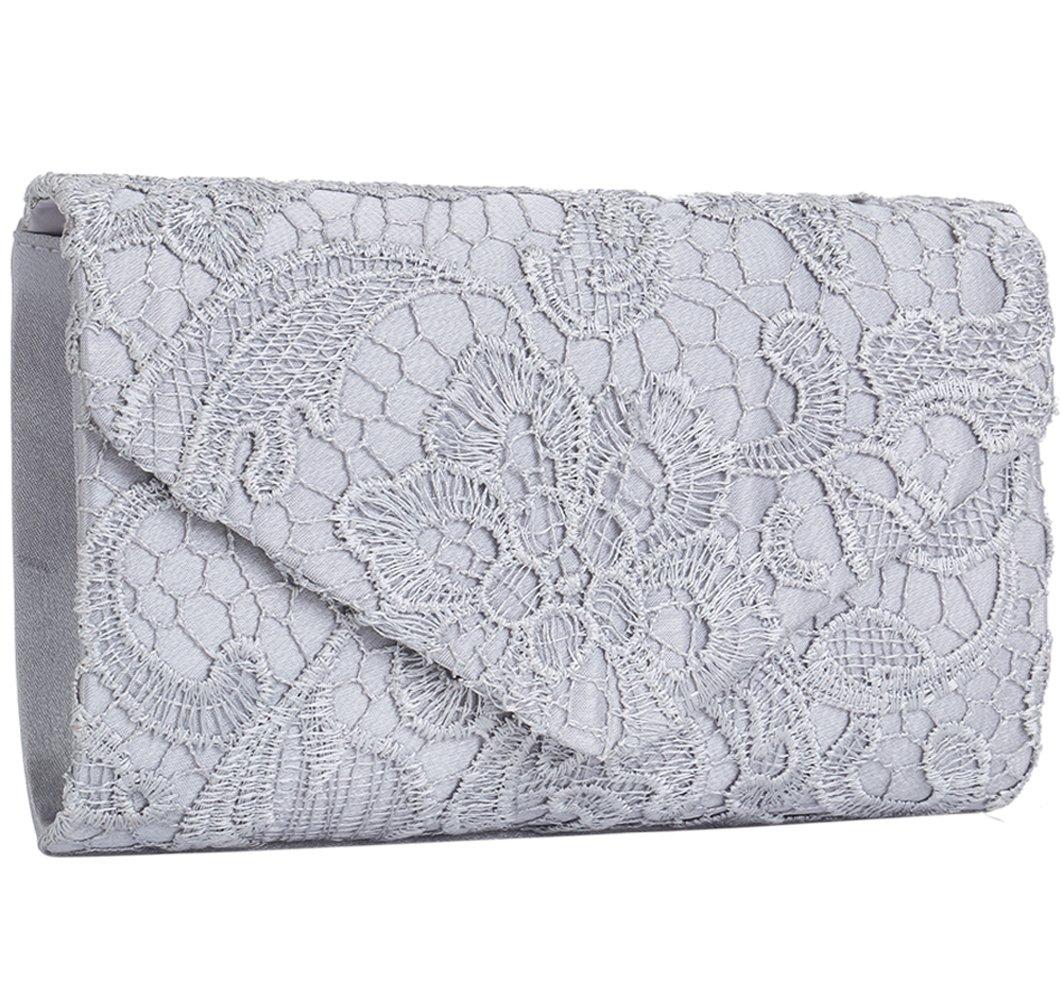 Jubileens Women's Elegant Floral Lace Envelope Clutch Evening Prom Handbag Purse (Silver) by Jubileens
