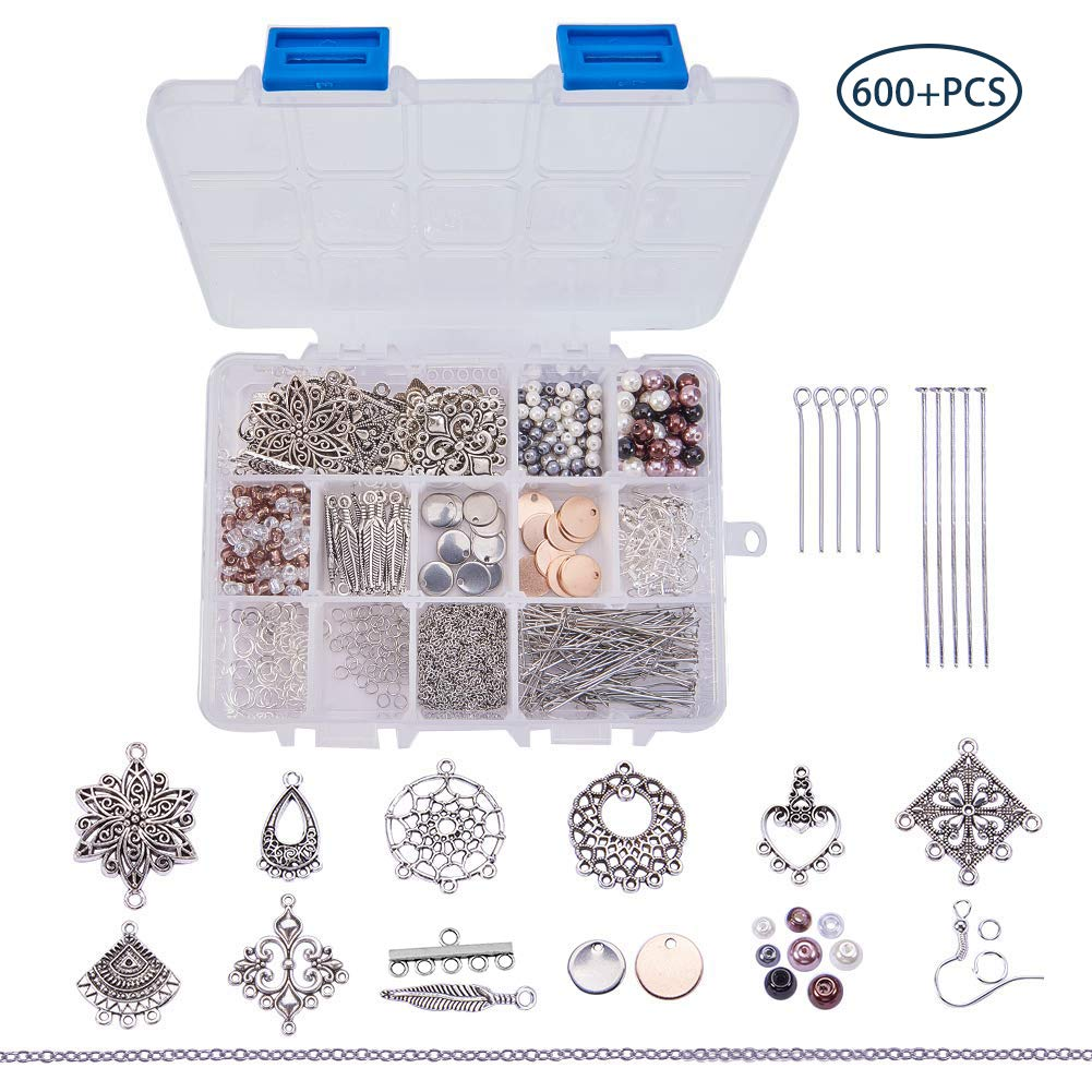 Style 1 Assorted Beads SUNNYCLUE 1 Box DIY 10 Pairs Chandelier Bohemian Earring Making Starter Kit-Chandelier Earring Connector Charm Findings Nickel Free Earring Hooks Jewelry Making Supplies Kit