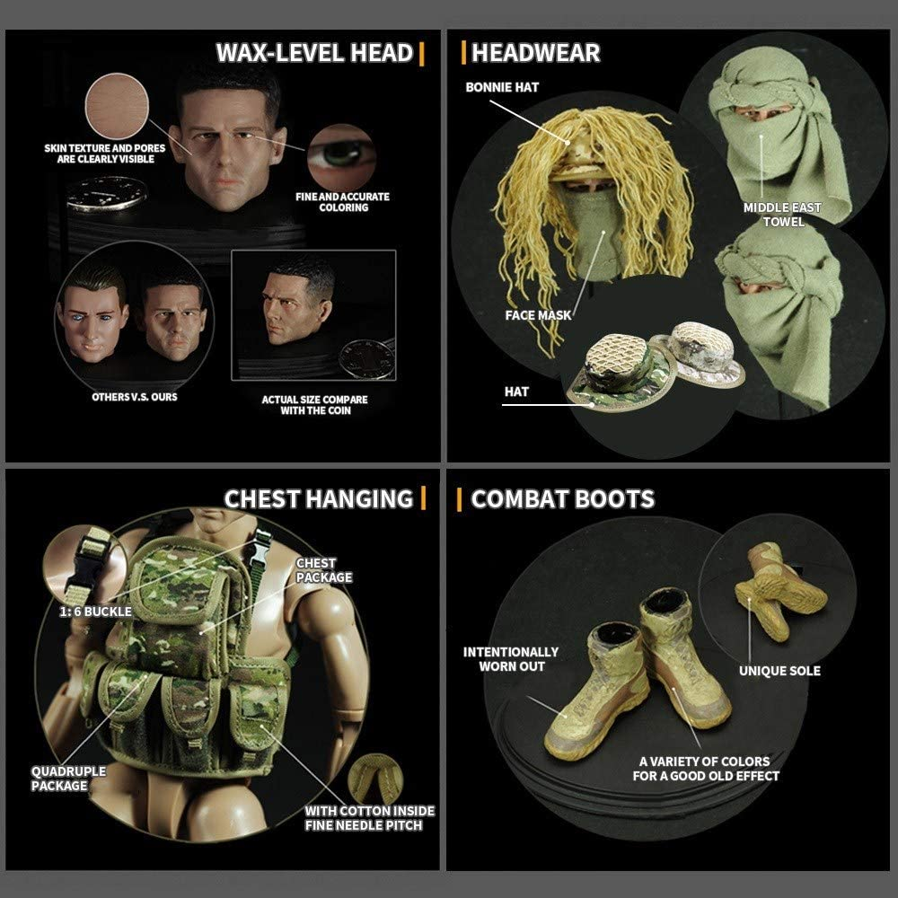 YEIBOBO Highly Detail Special Forces 12inch Action Figure SWAT Team Desert Sniper