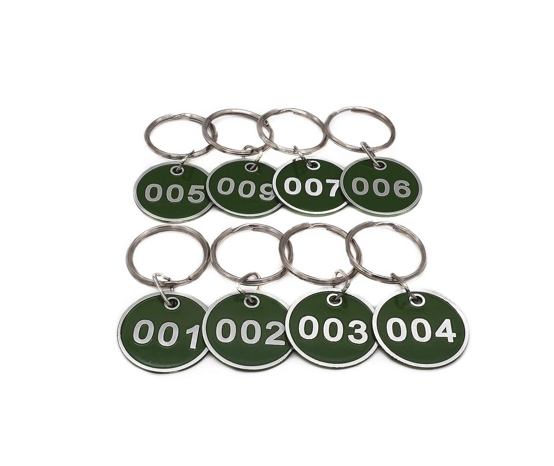 Llavero de aleación de aluminio, juego de etiquetas, número de etiquetas de identificación, llavero, llaveros numerados, 50 piezas, color verde 1 to ...