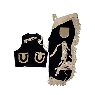 Kids Chap and Vest Set Horseshoes Black Large: Sports & Outdoors