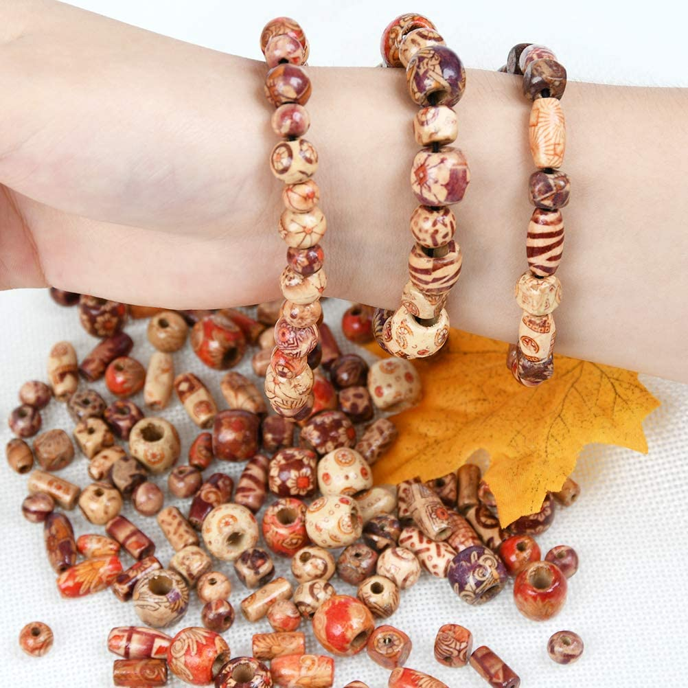 WOWOSS 500 Pcs Painted Wood Beads Loose Wooden Bead Various Shapes Natural Spacers Beads Bulk for Jewelry Making Craft Hair DIY Macrame Rosary Bracelet Necklace Project