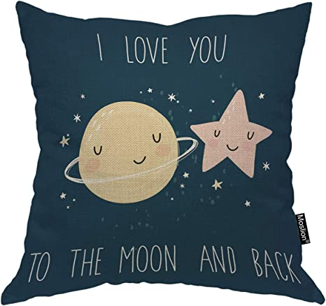 Moslion Star Decorative Pillow Case Cute Cartoon Stars Planets With Quote I Love You To The Moon And Back Throw Pillow Cover Square Accent Cotton Linen Home 18x18 Inch Blue Home