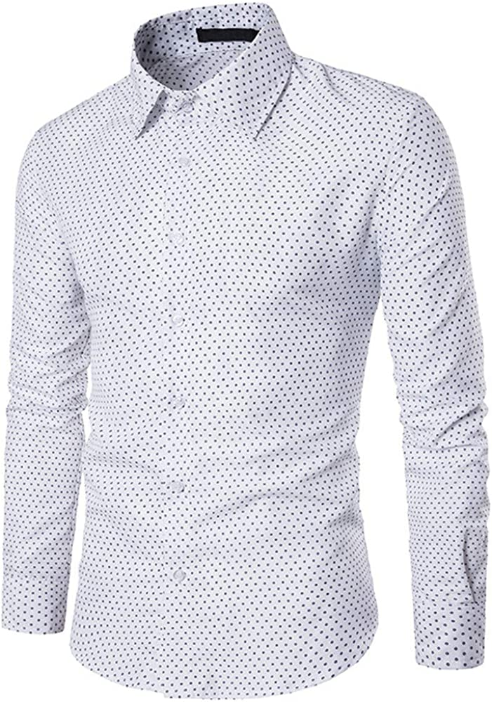 Summer Dots Printed Blouse Casual Tops Balakie Slim Button Down Shirt for Men