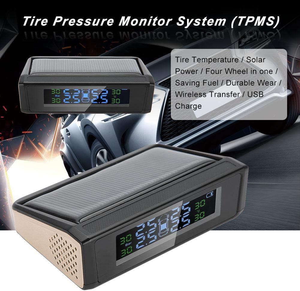 LCD-Display Auto TPMS Reifendruckkontrollsystem,Solarbetrieben TPMS Reifendruckkontrollsystem LCD Monitor Alarm mit 4 externen Sensoren Kabellos
