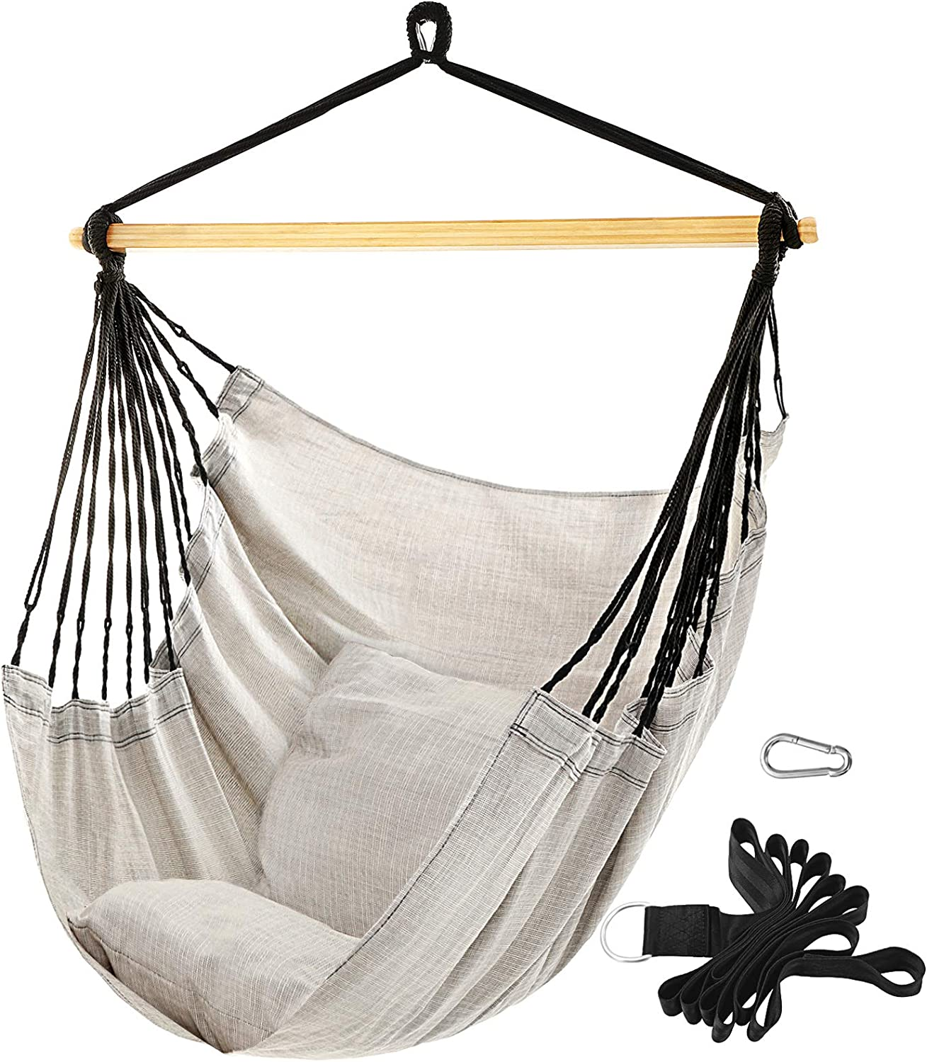 Bamboo Bar Beige Ugdc188m01 Yard Songmics Hammock Chair For Living Room Large Hanging Chair Swing Chair